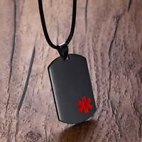 Emergency Men Medical Alert ID Dog Tag Pendant Necklace Custom Engraving Black