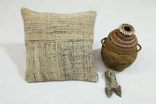 Handmade Vintage Cushion Cover 16x16 In. One-of-a-Kind Pillow Case Beige Decor