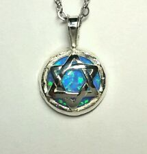 Judaica Star of David Necklace with Blue Opal Stone
