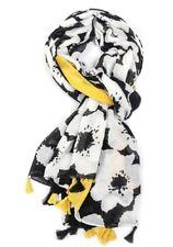 White Tassel Floral Scarf Ladies Yellow Black Shawl Tassels Wrap Summer Bright