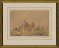 Framed Late 19th Century Watercolour - Village Church Scene with Figures
