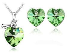 Verde Intenso Cristallo Cuori Orecchini Collana S224