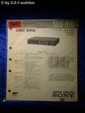 Sony Service Manual SEQ 910 Graphic Equalizer  (#0943)