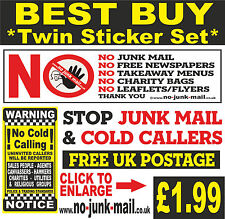 National Selling No Junk Mail Sticker / No Cold Callers Vinyl Sign ID: (BRYC)™