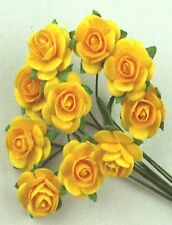 # 10 Small Yellow Mulberry paper Roses on stems by Green Tara