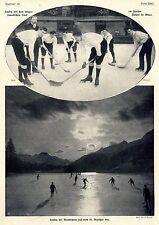 Hockey mit langen kanadischen Stock & auf dem St.Moritzer See 1908
