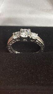 14k White Gold Ladies 3stone Vinatge 1CT Round Diamond Engagement Ring SZ6.5