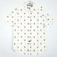 DENIM & FLOWER Surfing Santa Christmas Print Shirt Button Up Men's size XL NWT