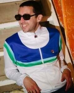 Fila Vintage Men's Albatross Track Top White/Blue/Green - 80s Retro Exclusive