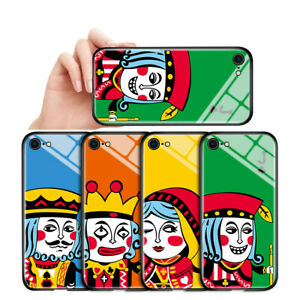 Case For iPhone 7 8 XS Samsung A10 A20S Cartoon Poker Cards Tempered Glass Cover