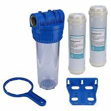 """Brunnen Wasser Filter 10"""" Gehäuse mit 1"""" IG Garten Pool mit 2x Eisenfilter"""