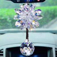 Car Interior Decor Crystal Clear Flower Pendant Hanging Ornament Accessory