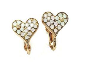 Mariana Earrings Elegant Heart Shape Pearl, White Opal & Pink Opal Austrian C...