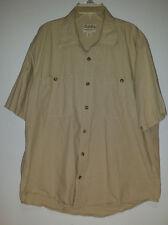 CABELA'S Legendary  Men's Short Sleeve KHAKI Shirt Size Large 2 pockets