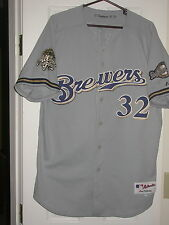 Game Used 2002 Milwaukee Brewers Road Baseball Jersey -Neugebauer All Star Patch
