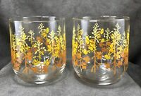 TWO Vintage Orange Yellow Ombre Flower Floral Lowball Drinking Glasses Tumblers