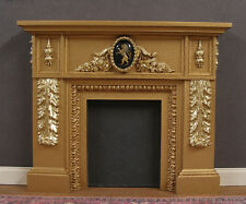 FIREPLACE ~ 1:12  scale ~ 2  Golds ~ VINTAGE  GLASS  LION ~ Dollhouse ~ Room Box