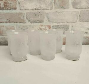 Set of 6 Small Japanese Frosted Glass Candle Holder Lanterns