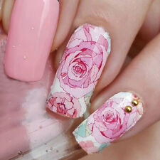 14pcs/ Sheet Floral Nail Wraps Foils Pink Roses Nail Art Full Stickers MDS1014