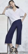 SMALL EILEEN FISHER MIDNIGHT WASHABLE STRETCH CREPE WIDE LEG CROP PANTS W/YOKE