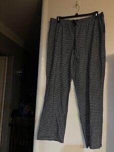 NWT Womens Croft & Barrow Pajama Pants Navy Blue w/ White Stripes ~ Size XXL