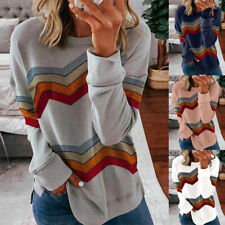 Women Long Sleeve Pullover Crew Neck Blouse Casual Stripe T Shirt Loose Fit Tops