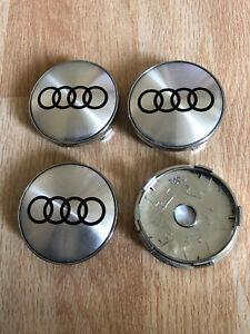 4x Audi Wheel Centre Cap Alloy Hub New Set of 4 Center Caps 60mm Silver/Black