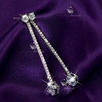 18k white gold gp crystal stud earrings dangle 925 silver stick fashion jewelry