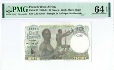 French West Africa 10 Francs 1946-54 PMG 64 EPQ s/n C.82 45914