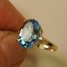 Estate ring 7.25 ct Blue Topaz and diamond 14k gold