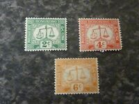HONG KONG POSTAGE DUE STAMPS SG02a-04a LIGHTLY-MOUNTED MINT WMK SIDEWAYS