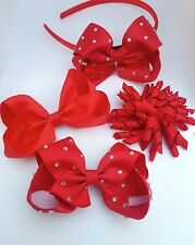Red School Hair Bow Clips Alice band Korker Ribbon Hair Clip Sets