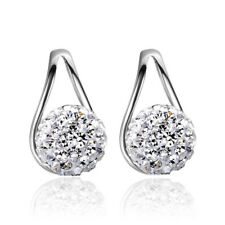 Classic Austrian Crystal Ball 925 Sterling Silver Stud Earrings For Women Gift