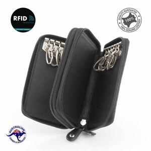Genuine Full Grain Leather Double  Zipped Key Holder Case 12 Keys Wallet  079-K-