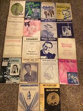 Piano Sheet Music Early To Mid Century Vintage orAntique Lot Of (18) Pieces - oe