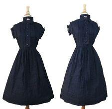New listing Vintage 40s 50s Kerrybrooke Navy Blue Sheer Seersucker Wwii Cocktail Dress Frock
