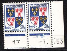 FRANCE COIN DATE BLOC DE 2 TIMBRE NEUF N° 951 picardie VARIETE COULEUR