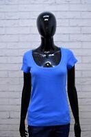 RALPH LAUREN Maglia Donna Taglia M Maglietta Manica Corta Shirt Women Cotone Blu