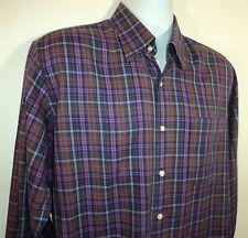 Peter Millar Mens M Purple Brown & Navy Plaid Button Front Shirt Long Sleeves