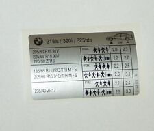 BMW e46 318is/320i/325tds reifendruck aufkleber  e46 318is tyre pressure label