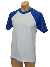 MENS HEAVY WEIGHT COTTON SHORT SLEEVE RAGLAN T SHIRT GYM WORKOUT BASEBALL S-3X