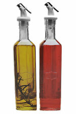 Set 2 Retro Tall Olive Oil and Vinegar Glass Bottles Cruets with Pourers