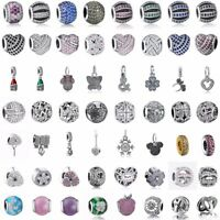 CZ Cubic Zirconia Heart Charms Bead Pendants Fit 925 Silver Sterling Bracelets