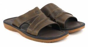 Timberland Men's Fells Slide Sandals Slipper Flip Flops Brown LEATHER 5343A USA