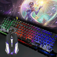Wired Gaming Keyboard And Mouse Combo Set RGB Rainbow Backlit 104Key 1600DPI 15G