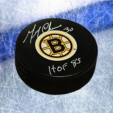 Gerry Cheevers Boston Bruins Signed Hockey Puck with HOF Inscription