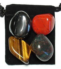 MANIFEST PROTECTION Tumbled Crystal Healing Set = 4 Stones + Pouch + Card