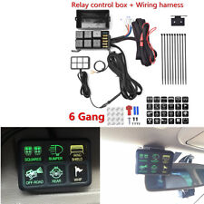 6 Switch Panel Relay Control Box + Wiring Harness Waterproof LED for Car Marine