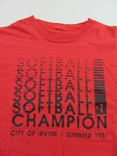 Vintage Softball Champion #1 Irvine California 1987 Red T Shirt Size L