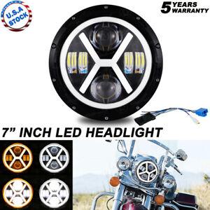 "7"" Halo Motorcycle Headlight LED Projector DRL For Yamaha Honda Kawasaki"